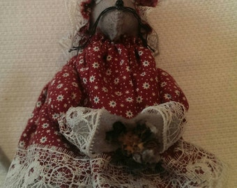 Vintage Little Mouse Doll Ornament