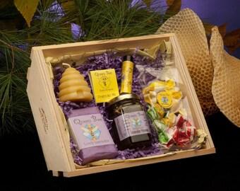 Lavender Honey Bee hive gift basket by Queen Bee Honey in Massachusetts