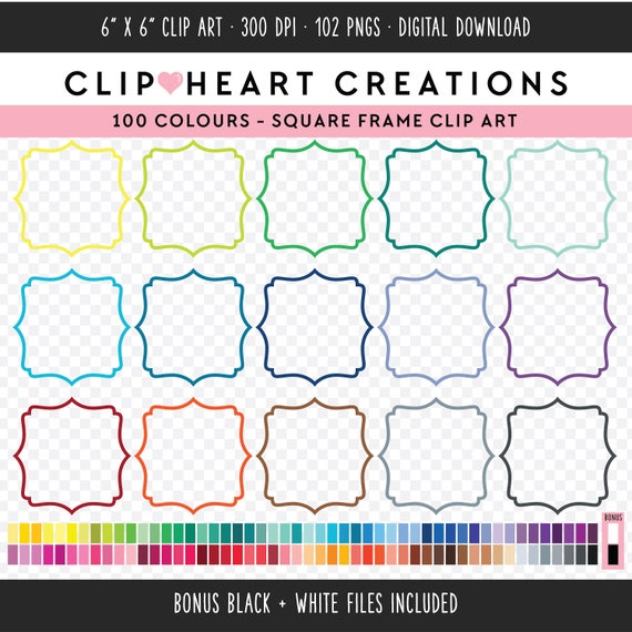 100 Bracket Frames Clipart Commercial Use PNG Digital Clip Art Images Rainbow Scrapbooking From ClipHeartCreations On