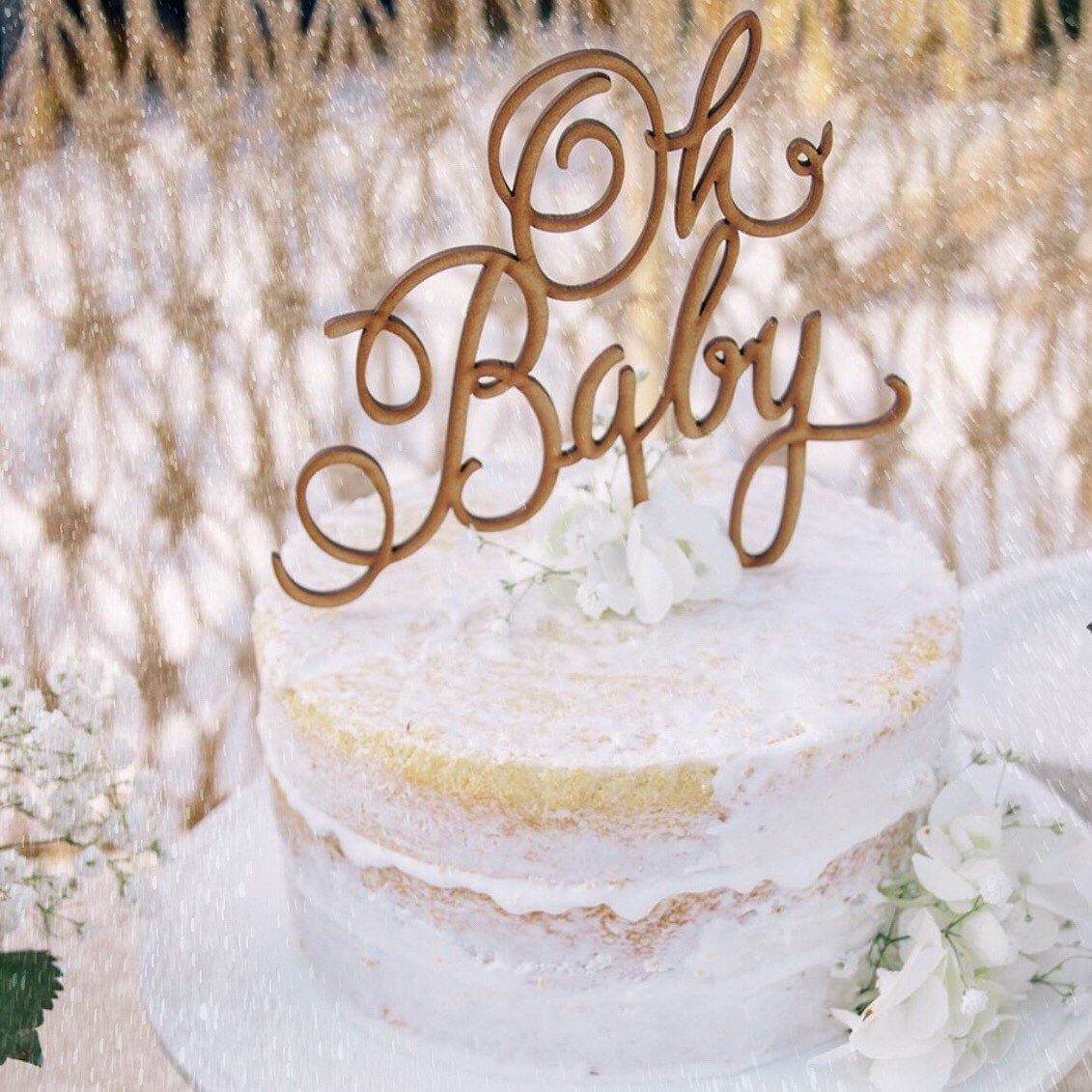 Rustic Cake Topper Oh Baby Shower Gender Reveal Boy Girl From