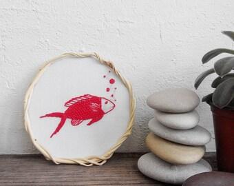 Red Fish Embroidery hoop wall art Scandinavian modern decor Modern embroidery art Unique baby gift Ocean decor for kids Fish wall art kids