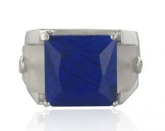 Lapis lazuli Crystal Tank Art deco 18K White Gold Diamond ring