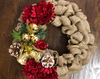 Christmas burlap wreath, flowers, ornaments, pinecones, winter wreath, entryway, door wreath