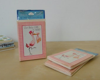 SALE - Vintage Our Baby Girl is Here Baby Announcement Cards - 3 sets