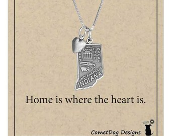 Sterling Silver Indiana State Pendant Necklace with Heart Charm | State Jewelry, Home Sweet Home Is Where the Heart Is, College Student Gift