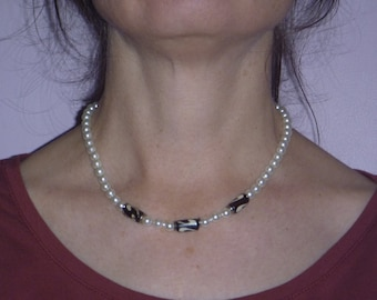 fake pearl choker necklace, ecofriendly beaded necklace