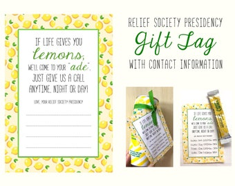 Relief Society Presidency Introduction Gift Tag With Space for Contact Information - Welcome to Relief Society - LDS Printable