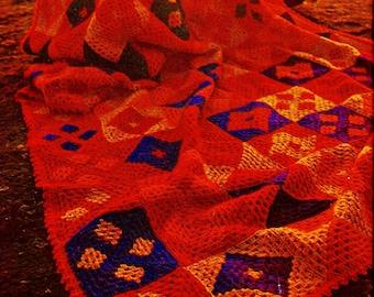 Sunset Granny Square Afghan Vintage Crochet Pattern Instant Download