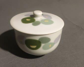 Vintage Noritake Nippon Toki Kaisha Porcelain Sugar Bowl Trinket Bowl with Lid Circle Design in Green and Grey