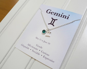 Gemini Necklace, Sterling Silver Constellation Necklace, Sterling Silver Zodiac Necklace, Birthstone Necklace, Birthday Gift