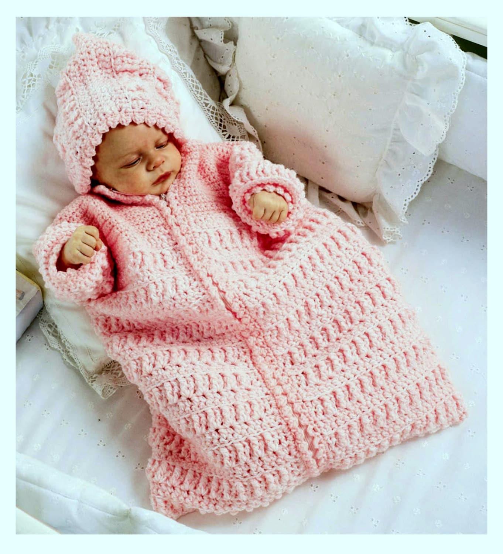 Vintage Crochet Pattern Baby Sleeping Bag Cocoon Sleep Sack Papoose ...