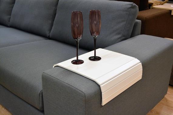 holz sofa tablett wei er couchtisch sofatisch arm. Black Bedroom Furniture Sets. Home Design Ideas