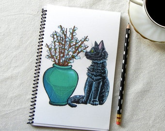 Black Cat with Vase of Pussy Willows Notebook