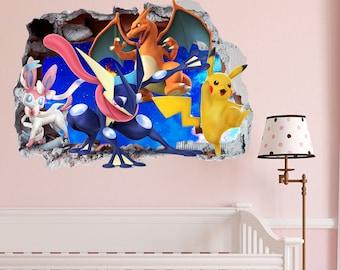 Pokemon Gang Smashed Wall Sticker In Wall Crack Kids Boys Girls Bedroom  Vinyl Decal Art Sticker