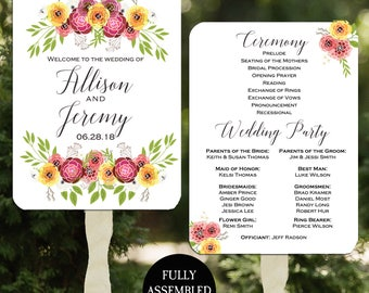 Wedding Program Fans Printable or Printed/Assembled with FREE Shipping - Romantic Floral Collection