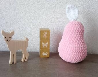 Poire au crochet rose pour déco chambre bébé fille, cadeau naissance bébé fille, poire rose pastel au crochet pour déco chambre fille