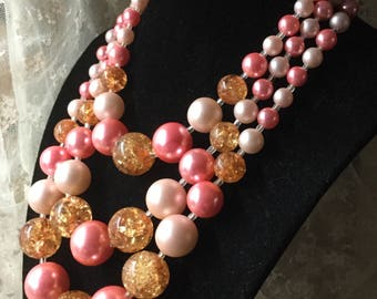 Stunning Signed Japan Three Strand Pink Amber Hued Lucite Bead Necklace 1950's 1960's Crackle Beads Multi Strand Day Wear Silver Tone Metal