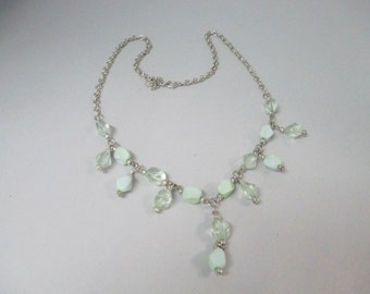 K Vintage Mint Green and clear tinted green plastic beaded necklace with silver tone chain 24 inch