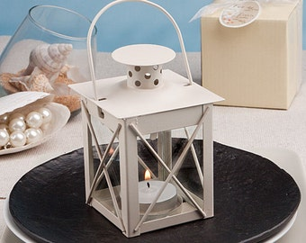 Square Ivory Metal Lantern Favors for Country Wedding (Pack of 6)