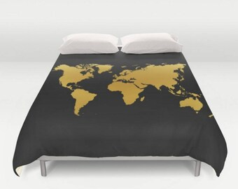 Map duvet cover etsy quick view black gold map duvet cover world gumiabroncs Choice Image