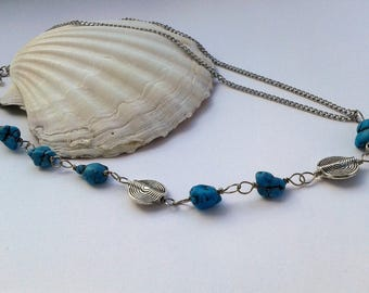 Turquoise silver necklace,wirewrap unique necklace,multi chain necklace,statement gemstone necklace,wirework glam necklace by magyartist