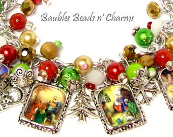 Nativity Christmas Charm Bracelet, Away in a Manger Christmas Charm Bracelet, Christian Themed  Christmas Charm Bracelet, Christmas Jewerlry
