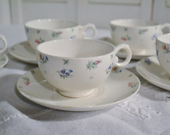 Vintage Harmony House Monticello Cup and Saucer Set of 5 Hall Floral Design USA Bridal Baby Shower PanchosPorch