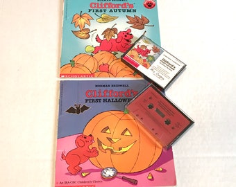 cliffords first autumn and first halloween read along books cassette tape sets by norman brindwell