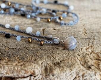 Jewel for woman, Necklace with gray quartz pendant, long necklace with crochet, quartz, vintage style, boho chic, long gray necklace