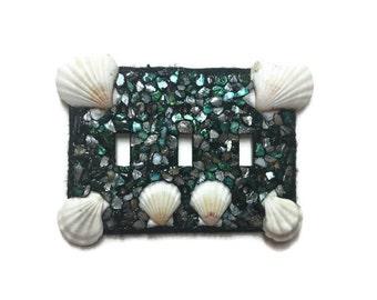 Black Seashell triple switch plate hand made - Beach Ocean Decor - Seashell faceplate - seashell light switch dark green blue metallic