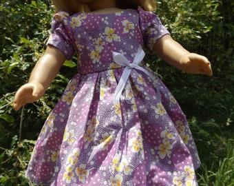 "18"" Doll Dress, American Girl Dress, AG Doll Dress, 18"" Doll Summer Dress, American Girl Summer Dress, 18"" Doll Flowered Dress"