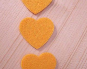 set of 3 hearts felt #6