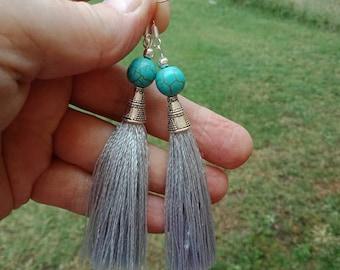Turquoise Earrings Tassel Earrings Silver Earrings Black Earrings Boho Earrings Womans Earrings Dangle Earrings Beaded Earrings