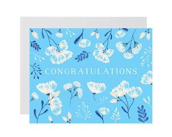 FLORAL CONGRATULATIONS card. Blue flower congratulations card. Floral card. New baby card. Just because greeting card. Friend card.