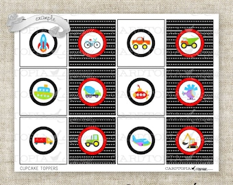 Instant Download - Cupcake Topper Party Favor Tags Birthday Cars Trains Planes Automobile Transportation Digital DIY Printable - 208058879