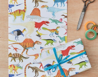 Dinosaurs Gift Wrapping Paper Four Sheets, Dinosaur gift wrap, dinosaur print