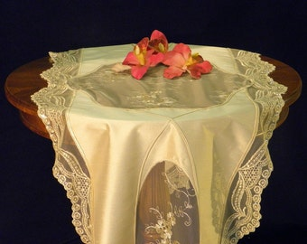 Table Runner Ecru Silk with French Lace and Swarovski crystals: GINA-02
