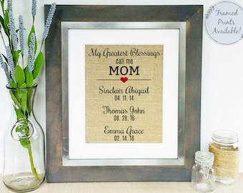 My Greatest Blessings Call Me Mom - Personalized Gift for Mom - Gifts for Mom - Mothers Day Gifts from Kids - Family Sign - Mom Birthday
