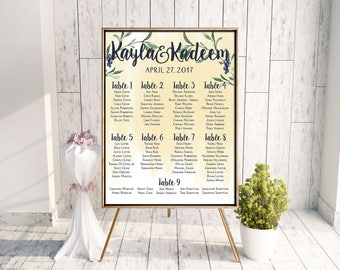 Wedding Seating Chart | Printable Seating Chart | Digital Seating Chart | Watercolor Seating Chart | Digital File Only | Seating Chart