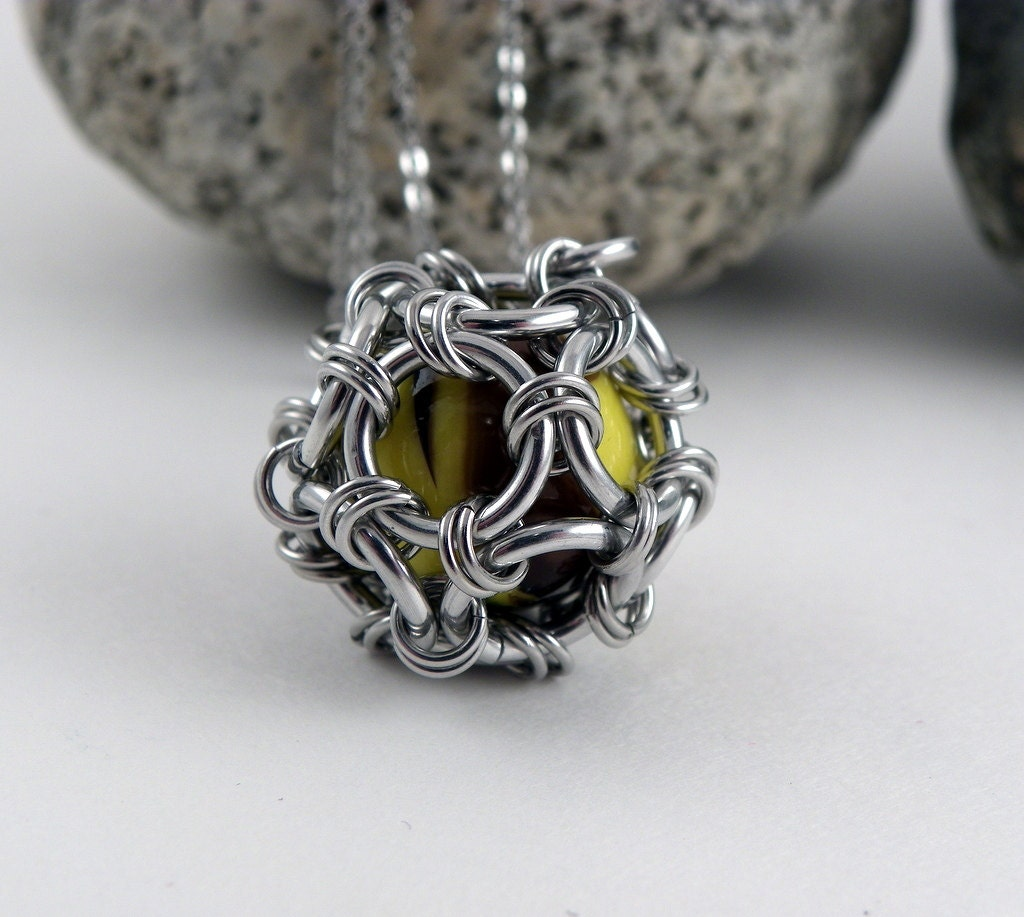 Sphere necklace chainmaille pendant marble jewelry funky zoom mozeypictures Image collections