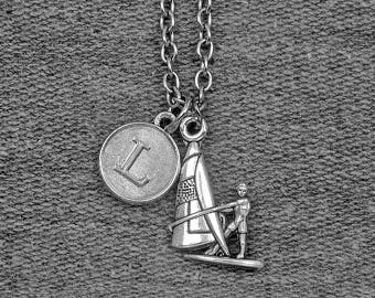 Silver Sailing Necklace -Sports Jewelry -Sailboats Necklace -Initial Charm Necklace -Your Choice of A to Z