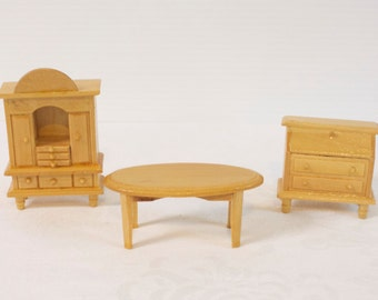 Vintage Dollhouse wooden furniture Table and two dressers