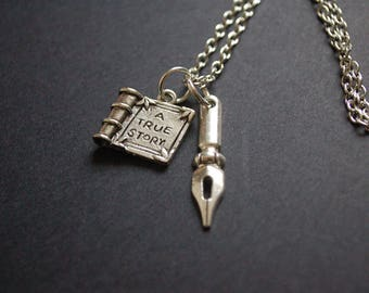 A true story book writer necklace