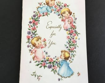 Vintage ( Unused)  Just because Greeting Card, Tiny flowers & little children