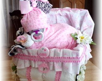 """Diaper Cake """"Diaper Baby Girl & Stroller"""" Custom Add Name Baby Shower Gift"""
