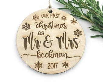First Christmas as Mr and Mrs Ornament | Personalized Married Custom Ornament | Wedding Christmas Ornament | Custom Wedding Ornament