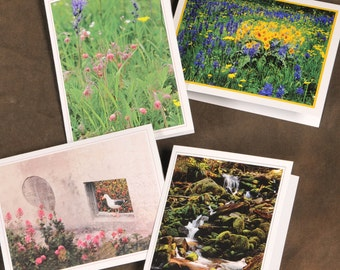 Photo Note Cards - Set of 4 fine art photography blank greeting cards with envelopes