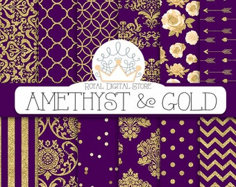 "Purple digital paper: ""AMETHYST & GOLD"" with purple and gold background, purple scrapbook paper, gold patterns, gold damask for scrapbooking"