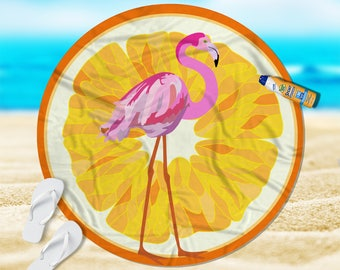 "Round Beach Towel, Pink Flamingo, Beach Towel, Beach Blanket, Yoga Blanket, 60"""