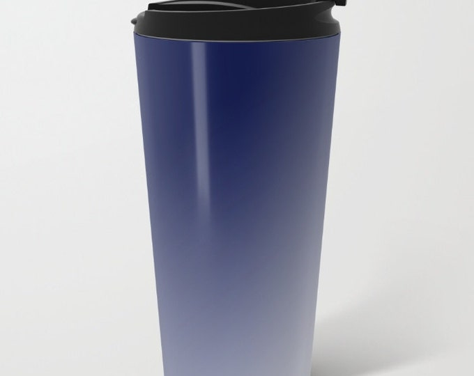 Blue To White Travel Mug Metal - Coffee Travel Mug -  Blue Ombre - Hot or Cold - 15oz Mug - Stainless Steel - Made to Order